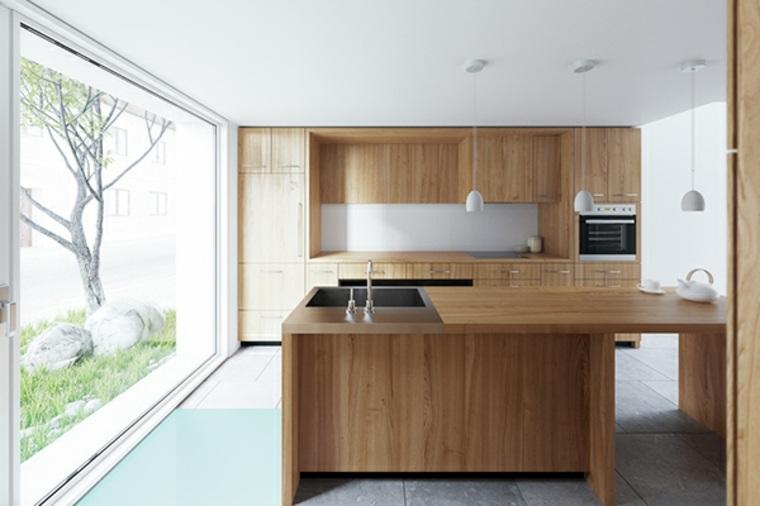 cocinas isla muebles madera luminosa ideas