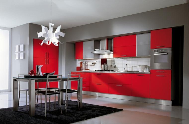 cocinas en rojo y gris