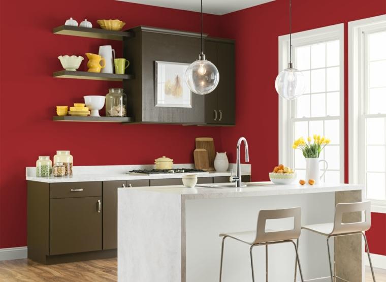 Cocinas en rojo treinta y ocho dise os ardientes - Colores de pintura para cocinas modernas ...