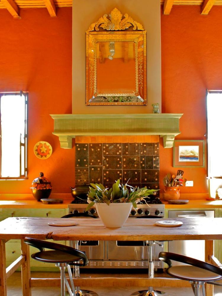 cocinas fotos decoracion estilos flores naranja encimeras
