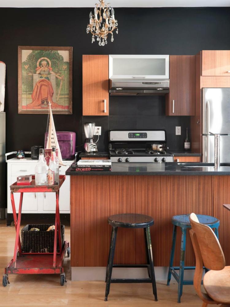cocinas fotos decoracion paredes oscuras contraste