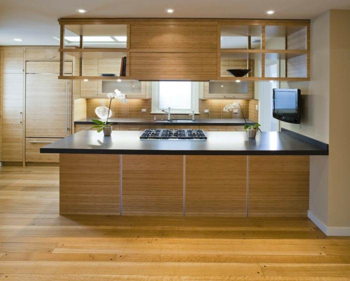 Cocinas mobiliario con estantes pendientes y tradicionales for Estantes cocinas pequenas