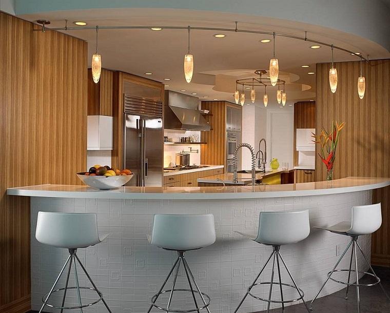 Cocinas con barra americana 35 dise241os de lujo : cocinas preciosas barra ovalada from casaydiseno.com size 760 x 610 jpeg 153kB