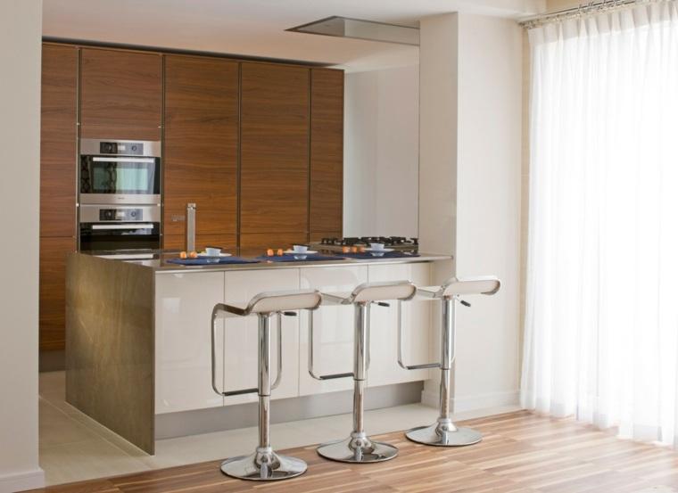 cocina sensilla pared madera barra ideas