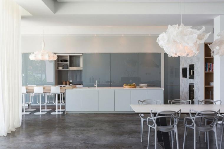 cocinas sencillas amplias muebles grises ideas