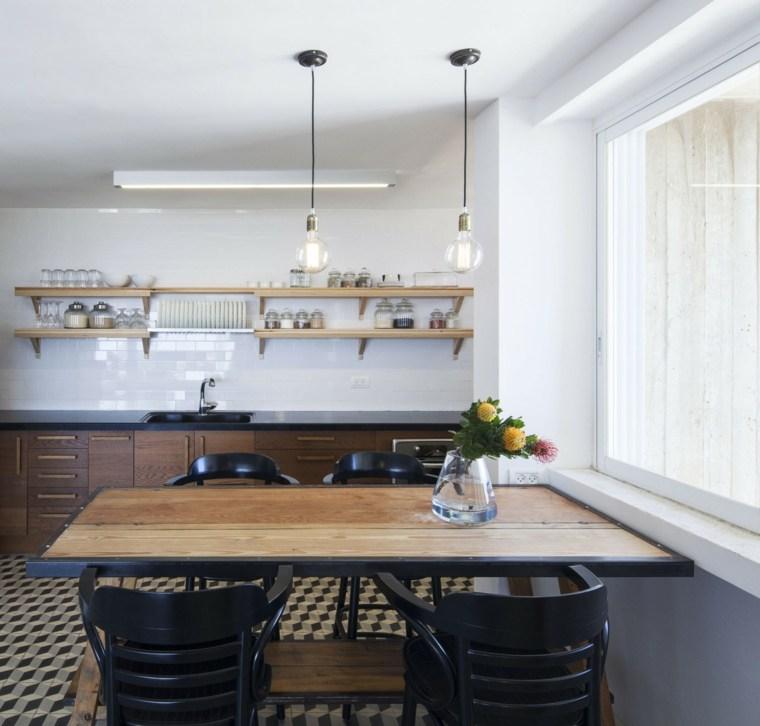 cocinas sencillas estantes madera abiertos ideas