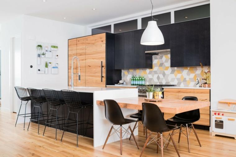 cocina sensilla losas coloridas pared ideas