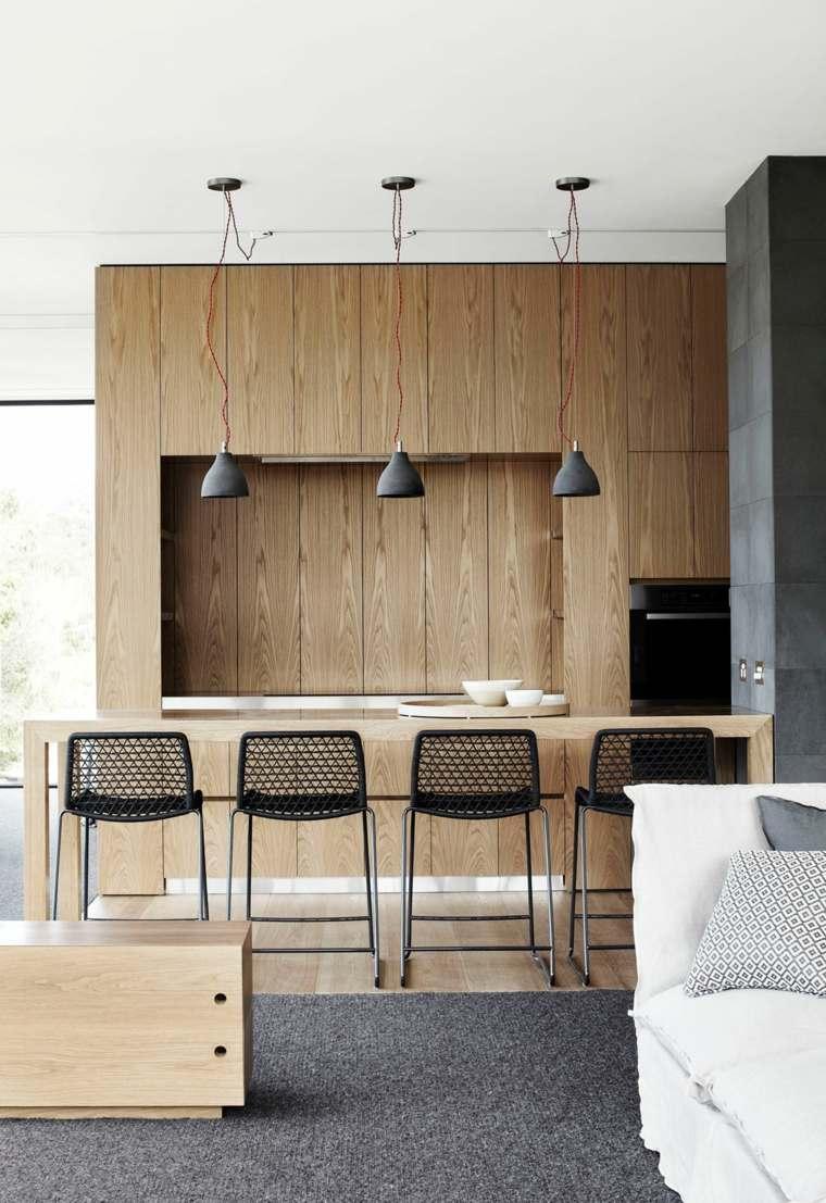 cocina sensilla madera alfombra gris ideas