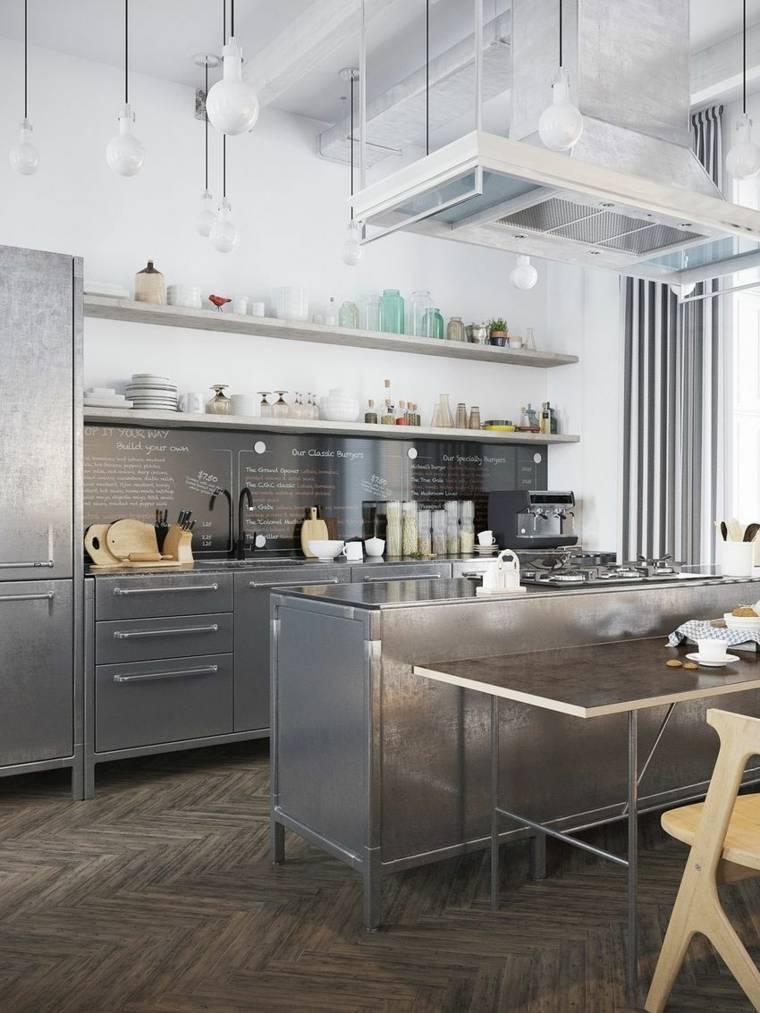 cocina sensilla muebles acero isla estantes ideas