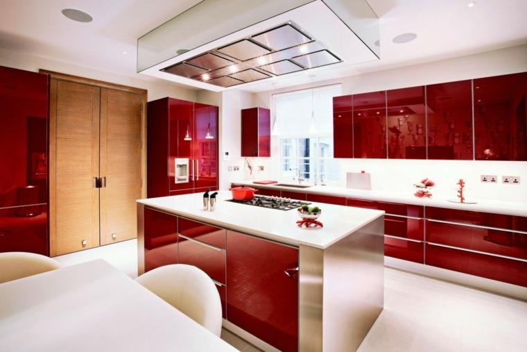 cocina sensilla muebles color rojo brillante ideas