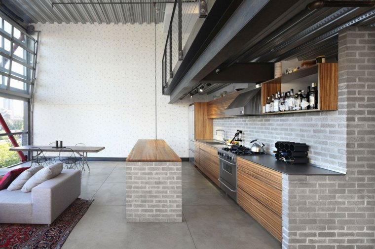 cocina sensilla pared isla ladrillo gris ideas