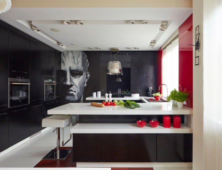 cocina sensilla pared negra decorada roja negra ideas