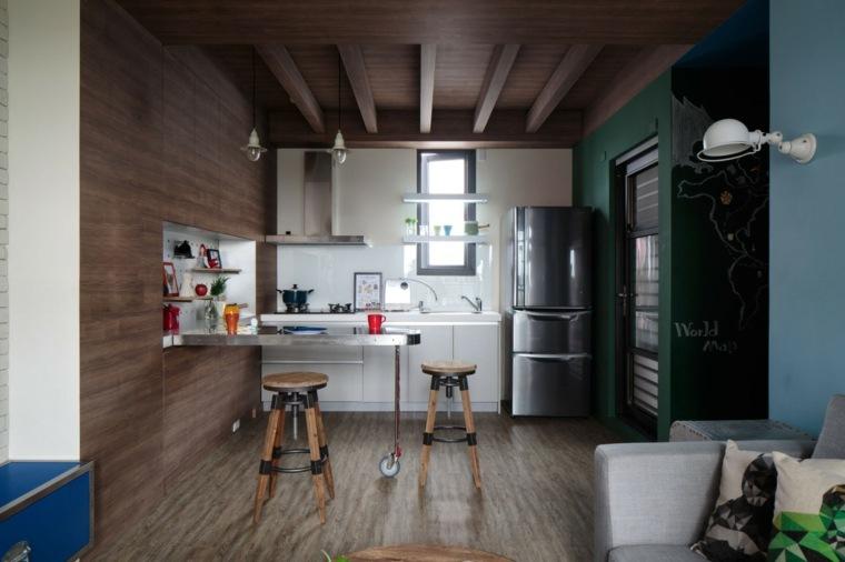 Cocinas sencillas la inspiraci n que necesita - Taburete cocina madera ...