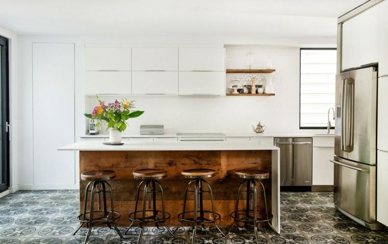cocina sensilla taburetes originales muebles blancos ideas