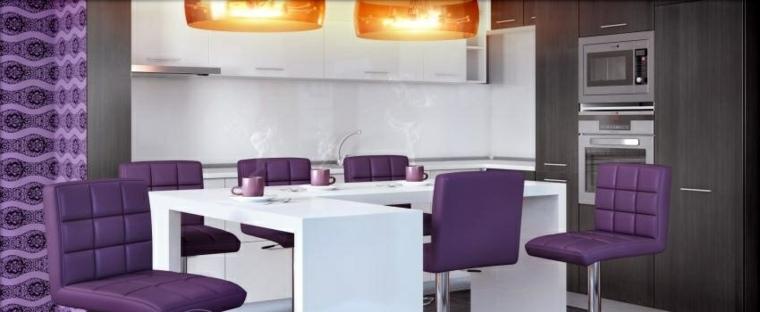 cocinas sillas purpura preciosas ideas