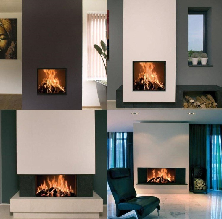 chimeneas de obra de dise o moderno 50 im genes. Black Bedroom Furniture Sets. Home Design Ideas