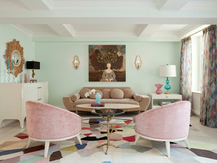 colores para pintar un salon rosa mobiliario espejos