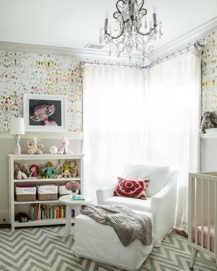 como decorar una habitacion de bebe estantes luminarias