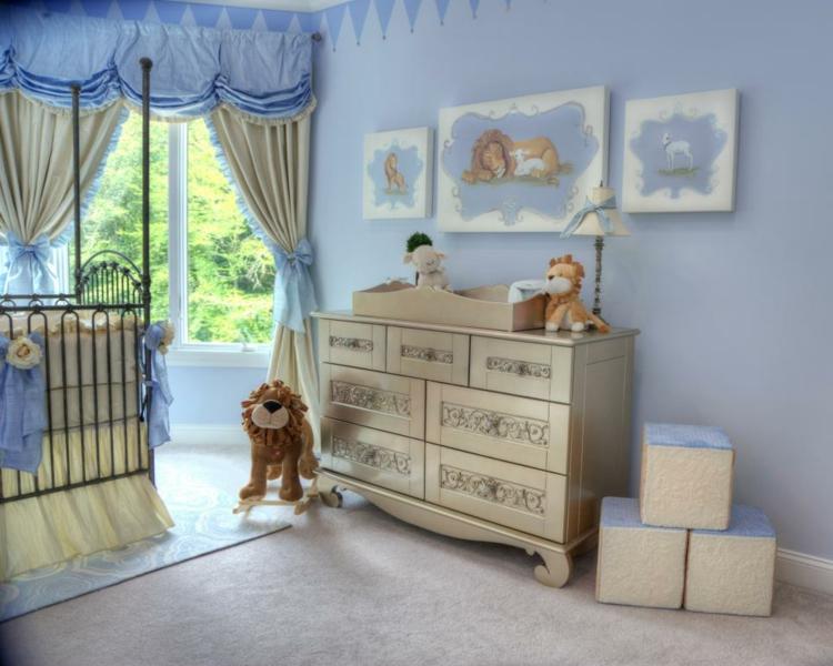como decorar una habitacion de bebe leon cortinas