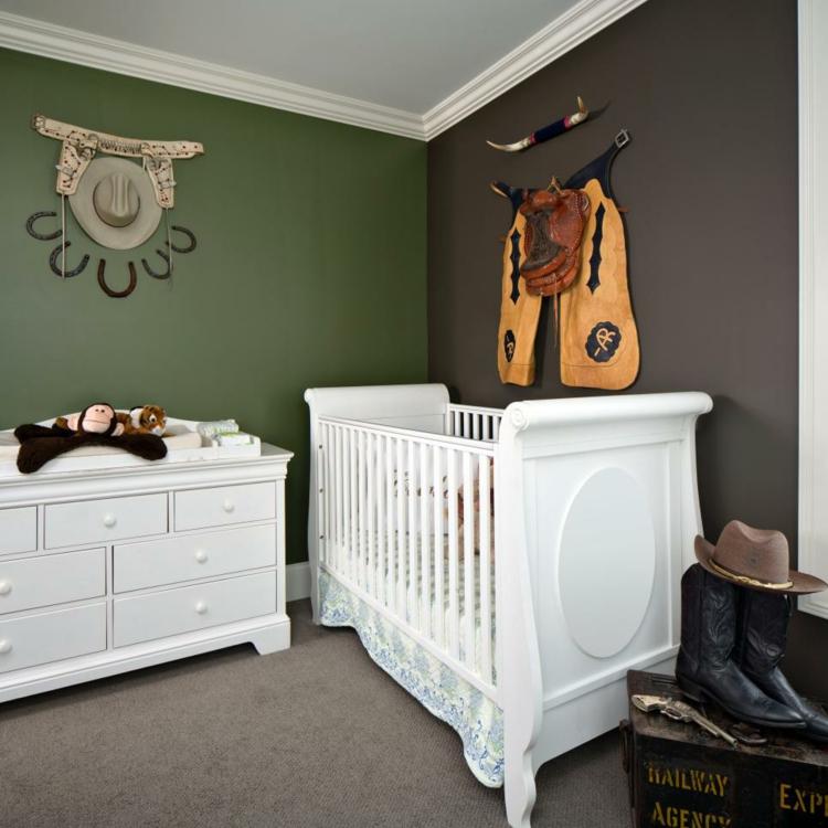 como decorar una habitacion de bebe lineas vaqueros sombrero