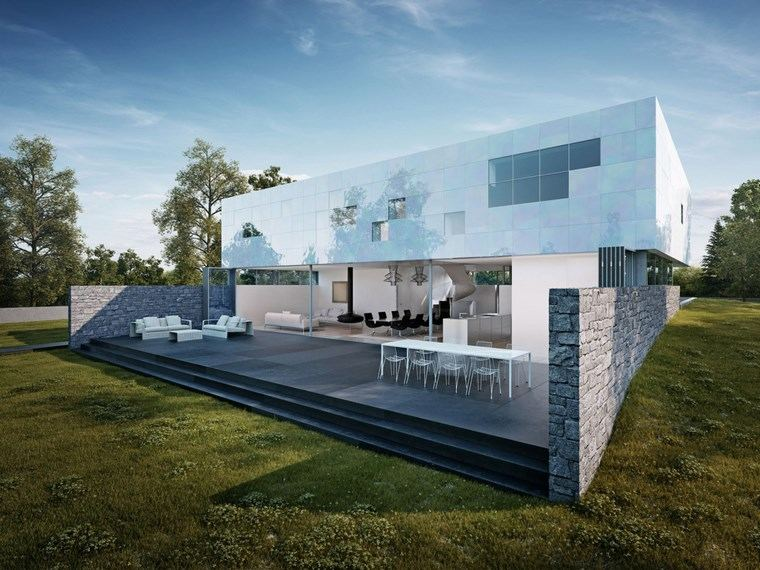 como decorar una terraza amplia muebles blancos ideas