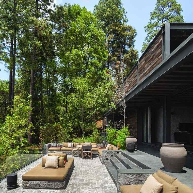 como decorar terraza muebles piedra ideas
