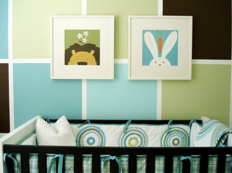 como decorar una habitacion de bebe cuadros verdes ideas