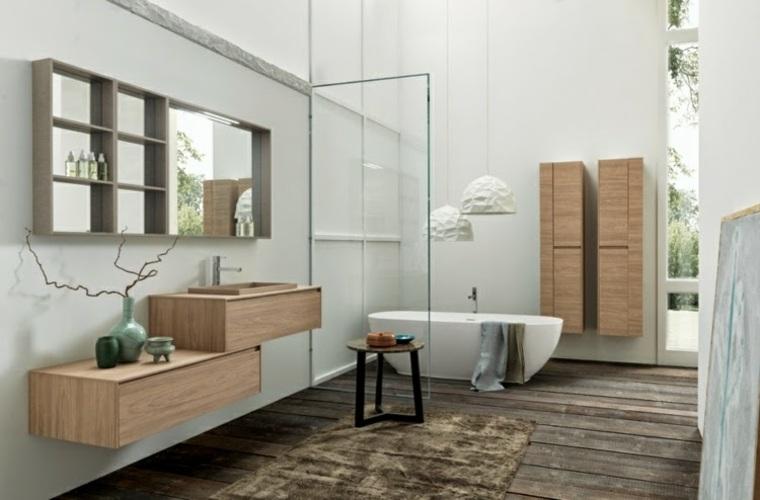 conjunto muebles baño madera clara