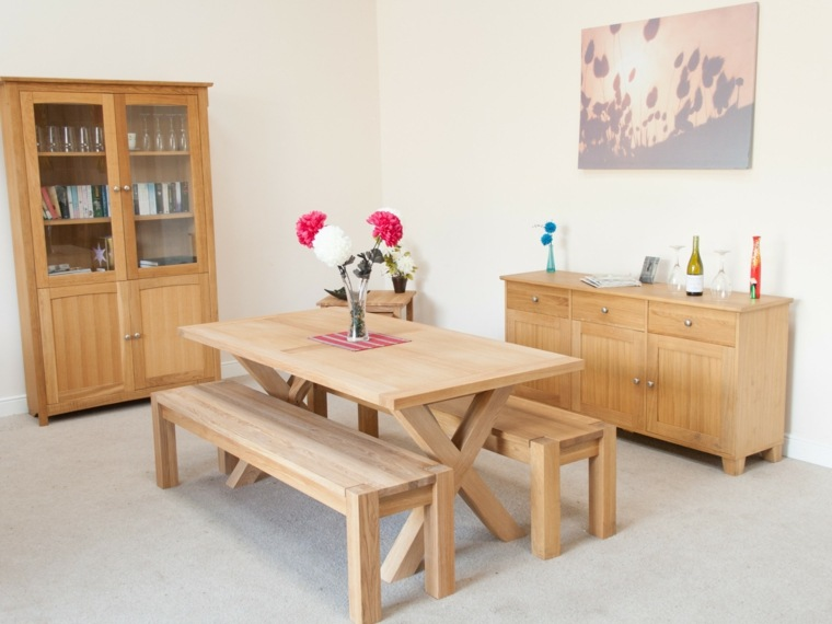 Mesas de comedor modernas de madera maciza 50 ideas - Bancos de comedor ...