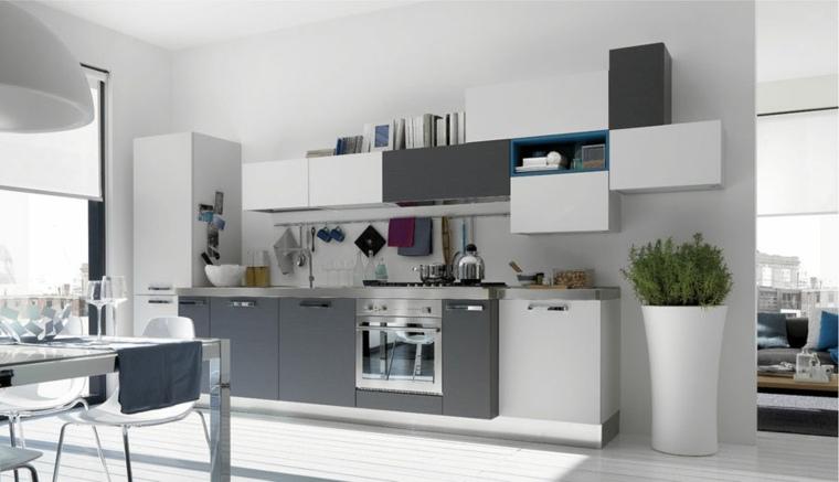 conjunto muebles gris blanco