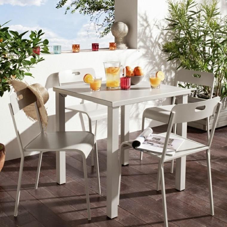 conjunto muebles exterior blancos