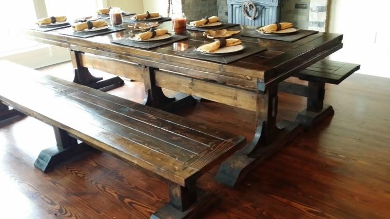 conjunto mesa madera solida rustica