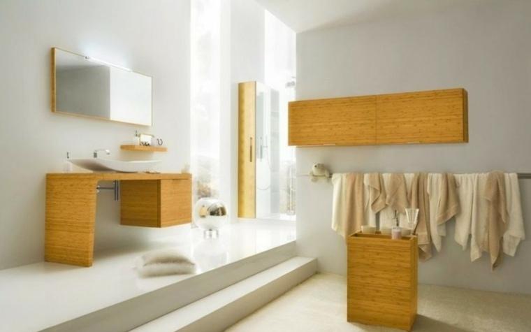 conjunto muebles baño madera amarilla