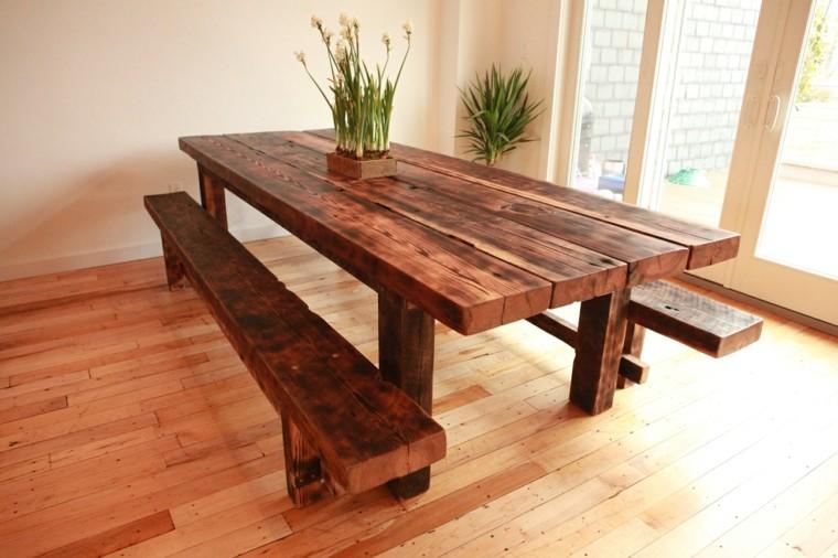conjunto mesa bancos madera maciza