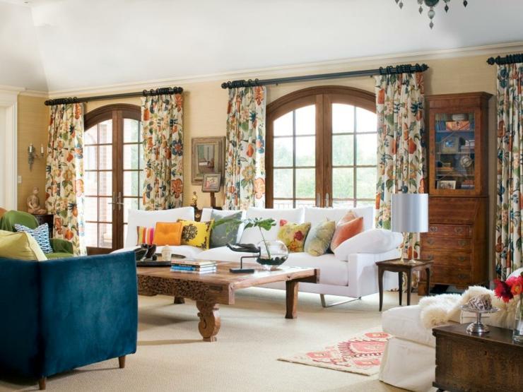 cortinas para salon ideas estilos florales mesas
