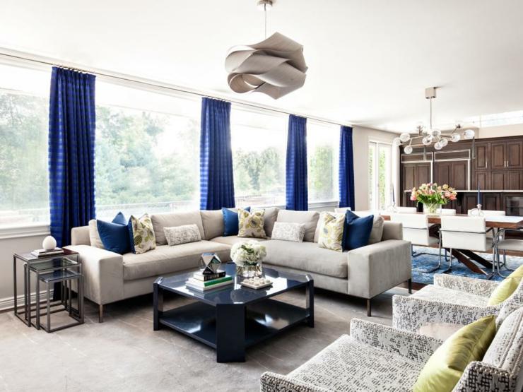 cortinas para salon ideas estilos iluminados azules