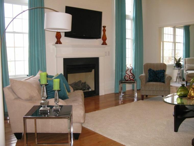 cortinas salon color celeste aguamarina