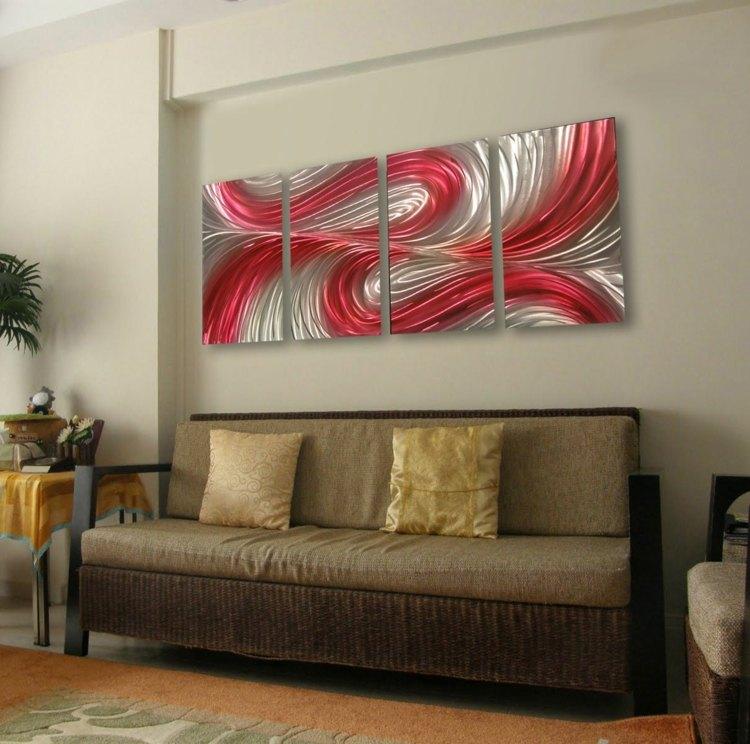 cuadros para salon piezas grises decorado rosa