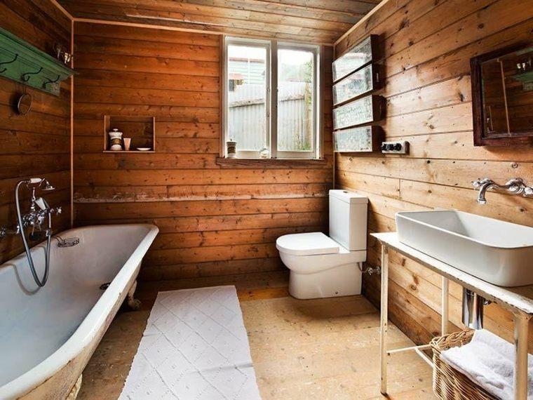 cuarto baño madera rustica