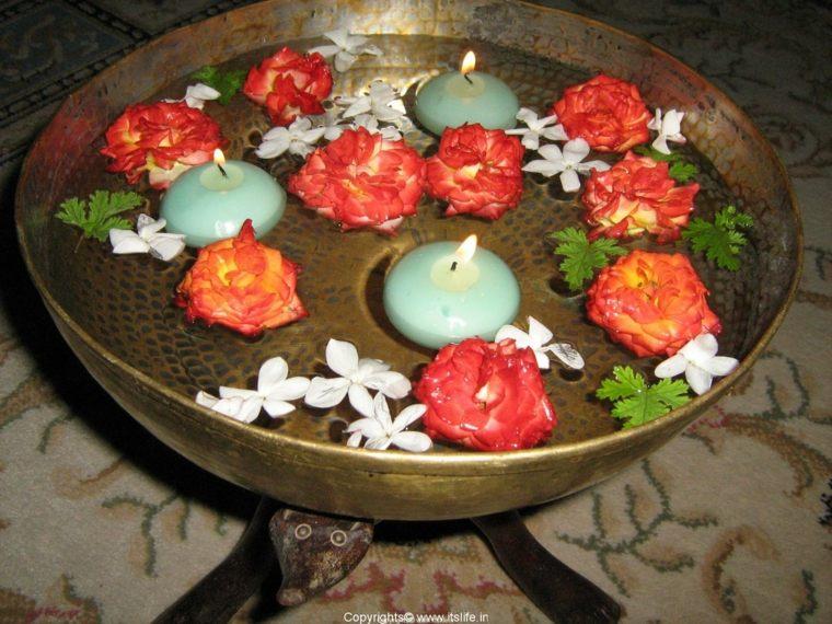 cuenco metal velas flores