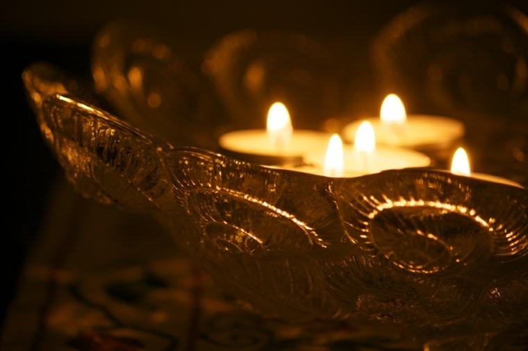 cuenco cristal vidrio velas blancas
