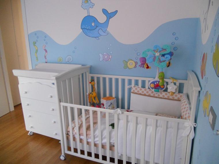 cunas bebe preciosas pared fondo marino ideas