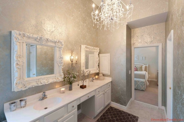 decoración baño papel pared