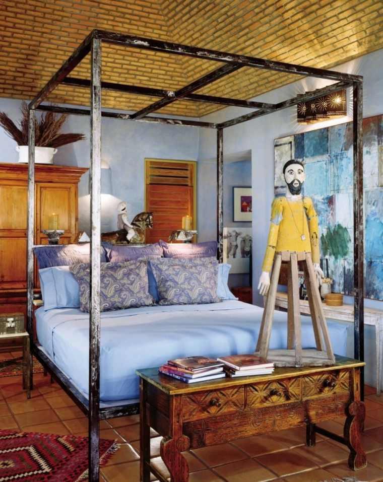 decoración boho habitacion cama