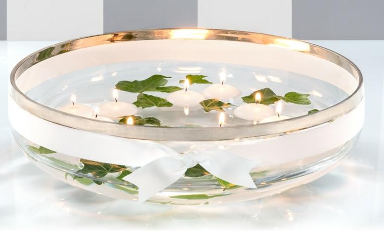 decoración bol velas hojas