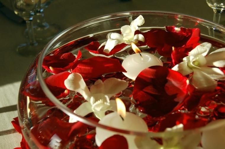 decoración bol rojo blanco