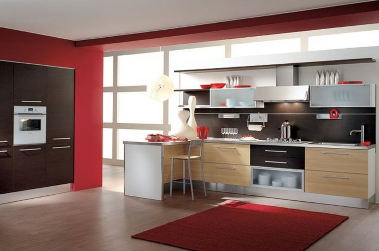 decoración cocina moderna roja