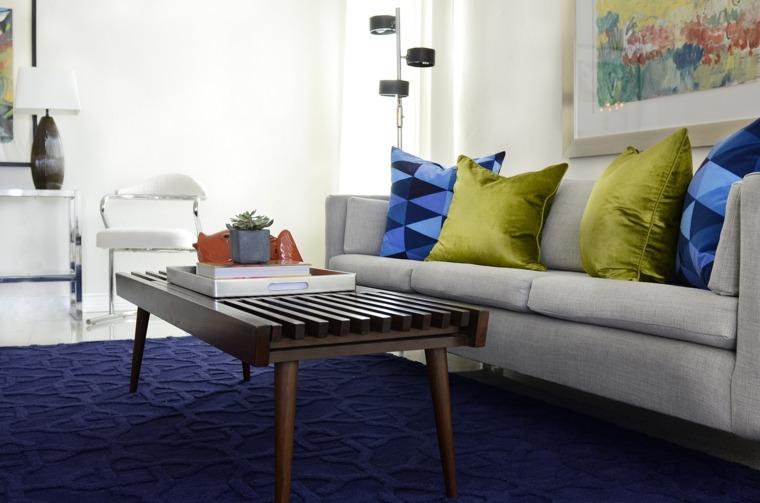 decoración salon azul verde
