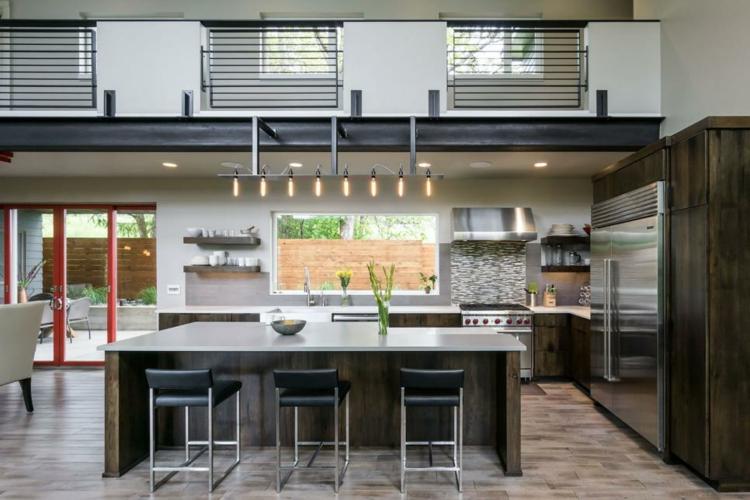 decoración de cocinas modernas cuero acero linea