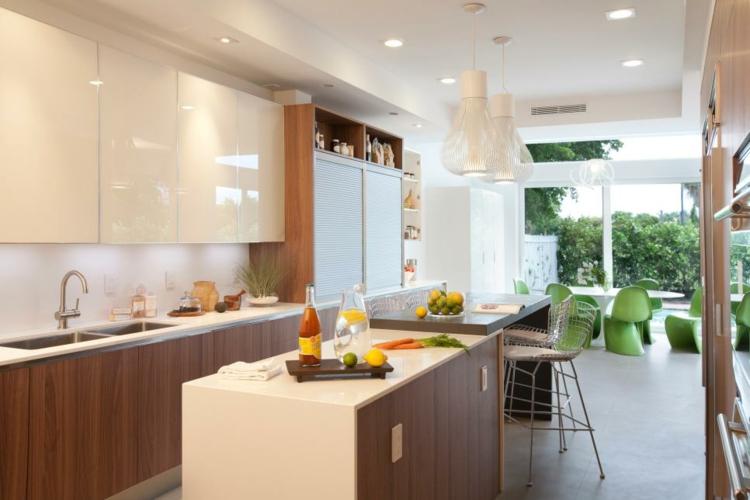 decoración de cocinas modernas islas fruta sillas